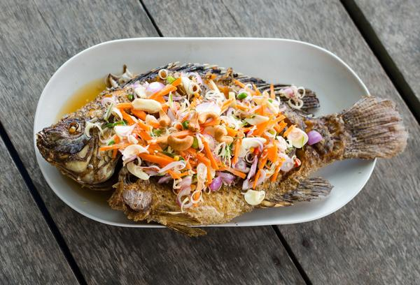 Fried Fish with Herb Sauce