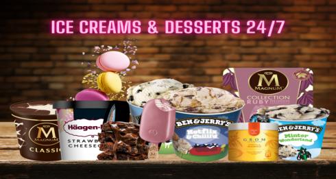 Ice Cream & Desserts 24/7 Clock